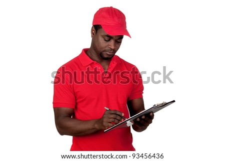 Worker courier with red uniform isolated on a over white background