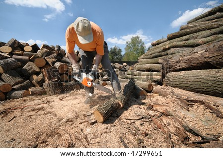 Worker cutting logs with a chainsaw - stock photo