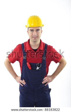 worker dressed with overalls isolated on white background - stock photo