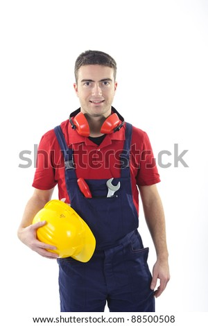 worker dressing his safety equipment isolated on white background - stock photo