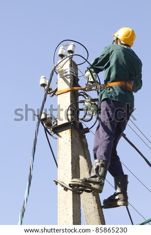 Worker  electrician  cable  repair