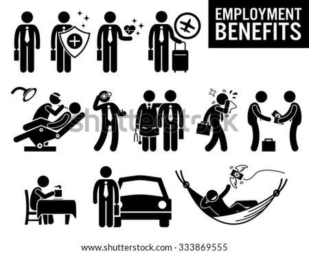 Worker Employment Job Benefits Stick Figure Pictogram Icons - stock photo