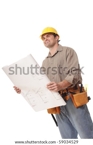 Worker excitedly looking toward copy space while holding open a blueprint - stock photo