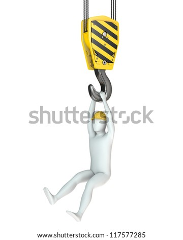 Worker hangs on crane hook, isolated on white background - stock photo