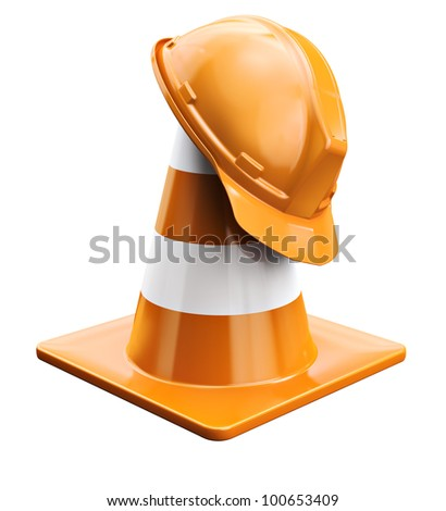 Worker helmet and traffic cone - stock photo