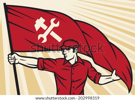 worker holding a flag - industry poster (industry design, construction worker, poster for labor day)  - stock photo