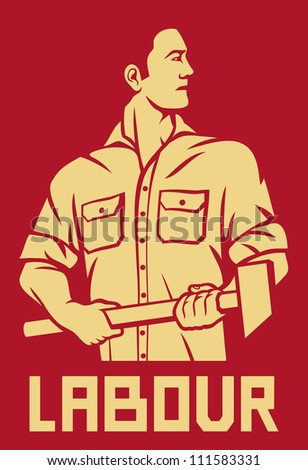 worker holding a hammer (poster for labor day, male worker with hammer, workers design) - stock photo