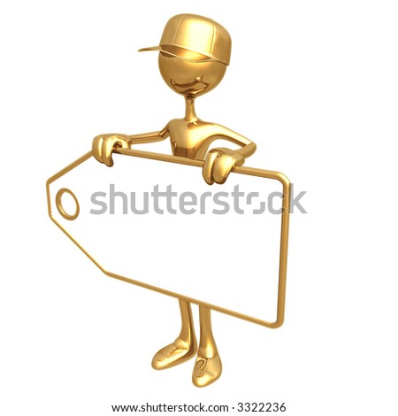 Worker Holding Blank Price Tag - stock photo
