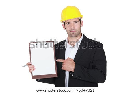 Worker holding clipboard