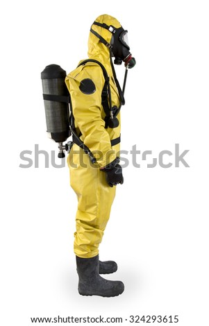 worker in a protective suit and breathing apparatus isolated under the white background