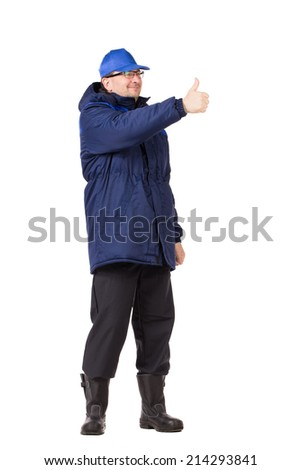 Worker in blue coat and hat. Isolated on a white background.