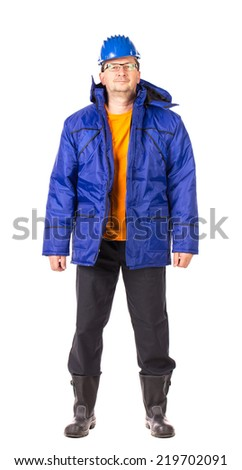 Worker in blue coat. Isolated on a white background.