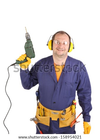 Worker in ear muffs and glasses with drill. Isolated on a white backgropund.