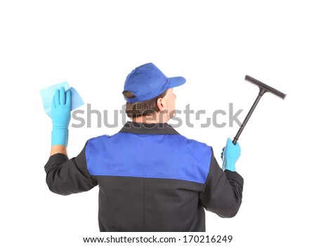 Worker in gloves with window cleaner. Isolated on a white background.