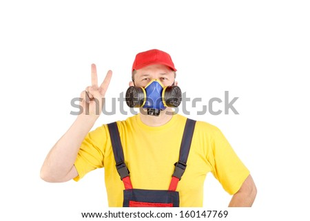 Worker in har with respirator. Isolated on a white background. - stock photo