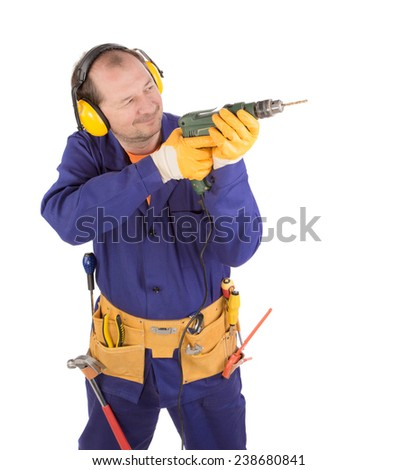 Worker in hard hat holding drill as gun. Isolated on a white background. - stock photo