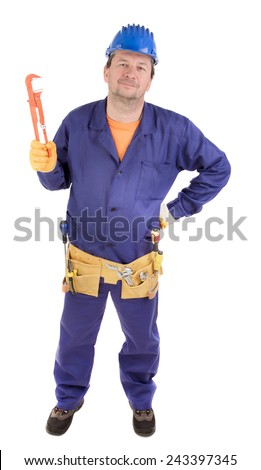 Worker in hard hat holding gas wrench. Isolated on a white background. - stock photo
