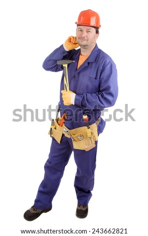 Worker in hard hat holding hammer. Isolated on a white background.