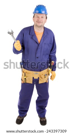 Worker in hard hat holding wrench. Isolated on a white background. - stock photo