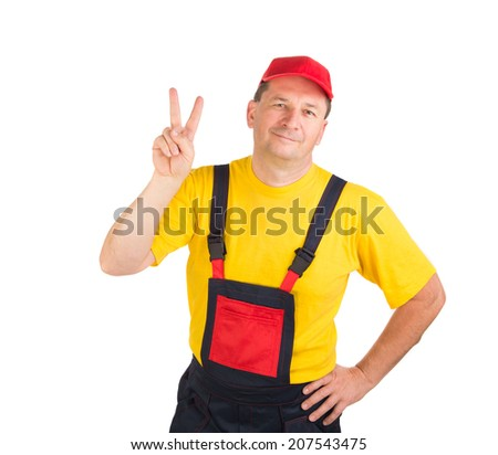 Worker in hat. Isolated on a white background. - stock photo
