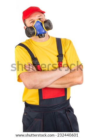 Worker in hat with respirator. Isolated on a white background. - stock photo