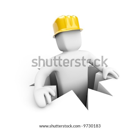 Worker in hole - stock photo