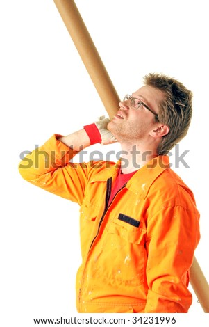 worker in orange workwear with tool looking upstairs, isolated on white - stock photo