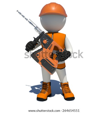 Worker in overalls holding electric perforator. Isolated render on white background