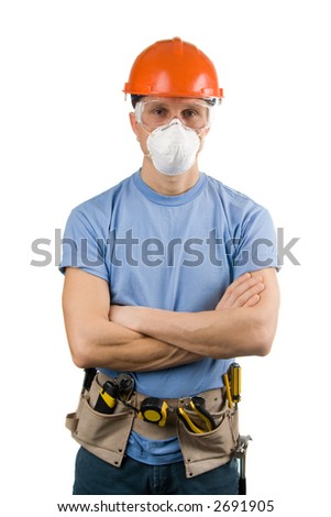 Worker in protective workwear with tools, isolated - stock photo