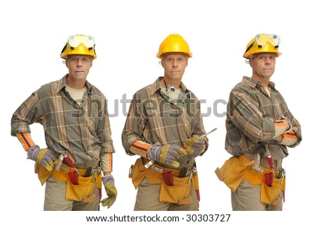 Worker in several positions  with hat isolated in white - stock photo
