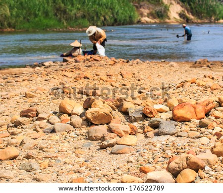 Worker  in the mines Phangnga province Thailand - stock photo