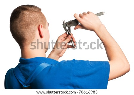 worker in uniform measuring drill tool with caliper isolated - stock photo