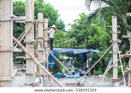 Worker is working hard in construction site
