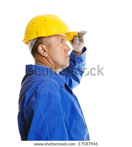 worker looking forward. isolated on white - stock photo