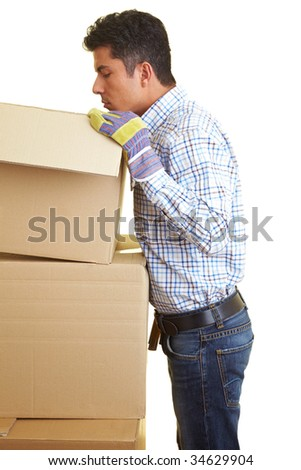 Worker looking into a cardboard box
