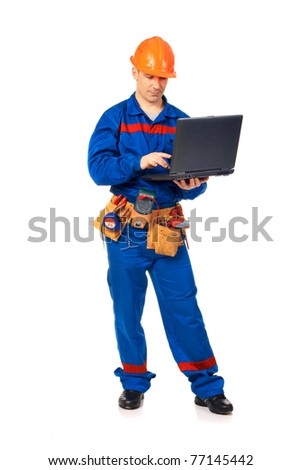Worker man with laptop in work wear against white