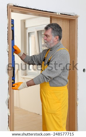 worker measuring - stock photo