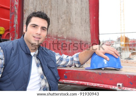 worker on a construction site - stock photo