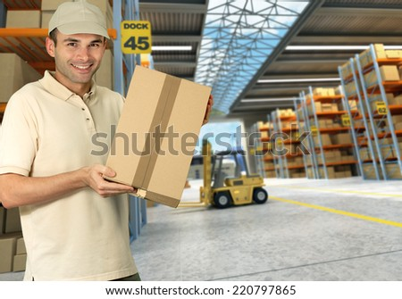 worker on a distribution warehouse - stock photo