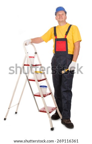Worker on ladder with brush. Isolated on a white background. - stock photo
