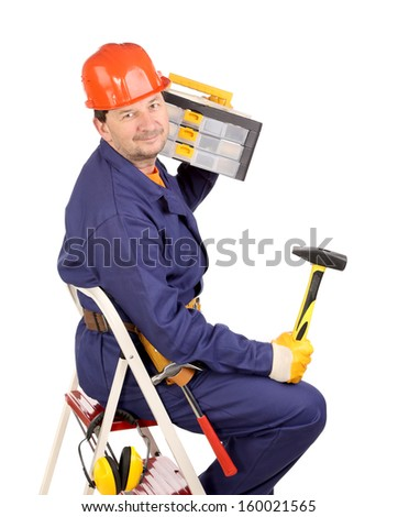 Worker on ladder with hammer and toolbox. Isolated on a white background. - stock photo