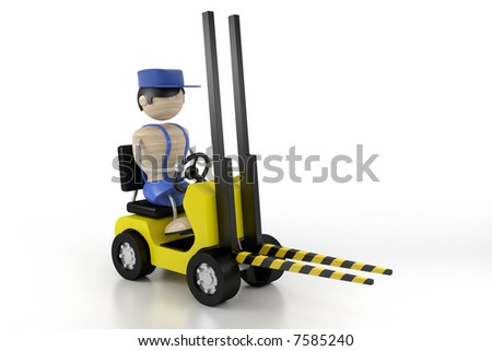 worker on the lift loader - stock photo