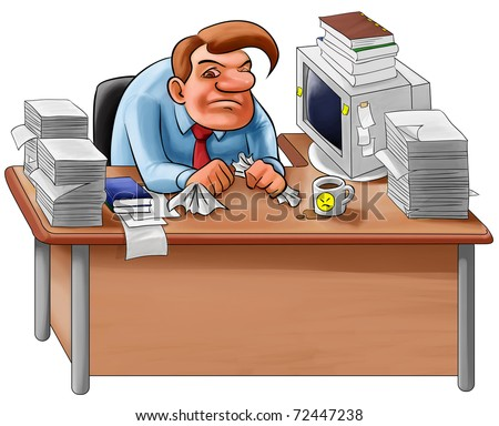 worker overworked sit in a desk with too many jobs to do - stock photo