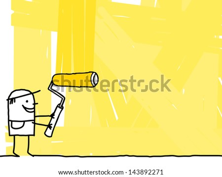worker painting a yellow background - stock photo