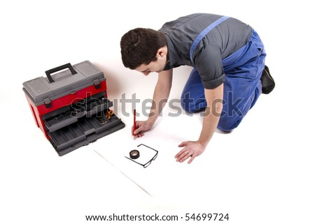 worker planning his work - stock photo