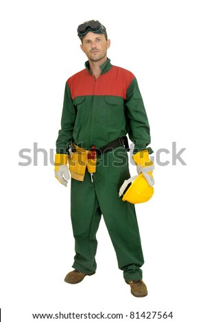 Worker posing isolated in white - stock photo