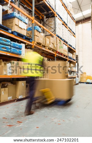 Worker pushing trolley with boxes in a blur in a large warehouse