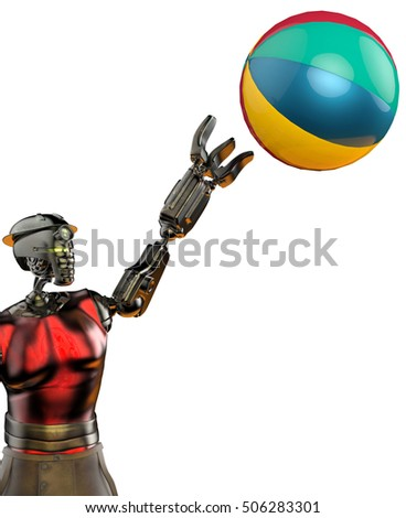 worker robot playing with a ball 6 3D illustration