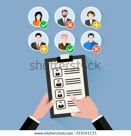 Worker's choice. work in team. flat style - stock photo