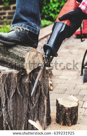 worker sawing a round piece of wood dry acacia reciprocating power saw. The foot in the shoe presses the log to the stump. Close-up